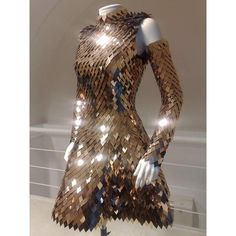 fashion dress armor Gareth Pugh Scale Mail ❤ liked on Polyvore featuring dresses, armor, backgrounds, other, brown dress and gareth pugh