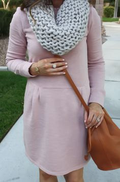 knit dress and scarf