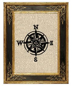 compass art, print onto burlap then frame, perfect for my world travel themed room