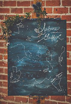 A painted canvas where guests can draw their own constellations and leave a note using paint pens | Brides.com