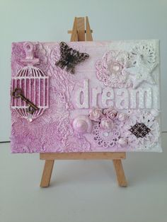 Mixed Media Canvas using Cosmic Shimmer & Dylusions spray mists and WOW embossing powder