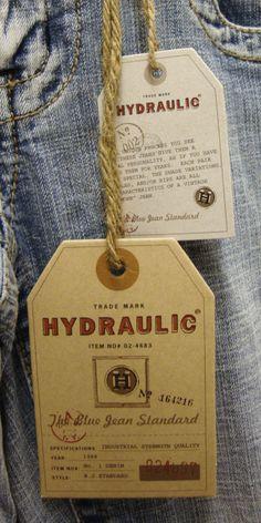 Hydraulic Jeans #hangtag