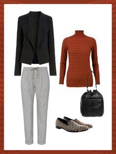 What to wear to work: das perfekte Büro-Outfit. Heute mal mit bequemer Jogginghose! Dazu Rolli, Blazer und angesagte Slipper.