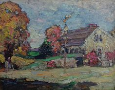 "Maud Mary Mason ""House in a Landscape"" 8x10 Oil on Board"