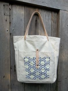 White Canvas Tote Bag with Leather Handles  Eco by KatFabric, $36.00