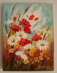 Red Poppies Daisies Original Impasto Oil Painting Meadow Flowers Europe Artist #Impressionism