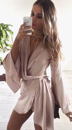 Pink Silk Wrap Dress                                                                             Source