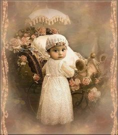 Vintage baby with pram