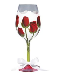 """""""Red Rose"""" wine glass. Yet another sold out and retired... will have to scour the net :-)"""