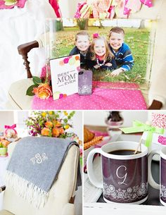 """Shower mom with dozens of gifts this Mother's Day. We love this bright and happy """"Coffee with Mom"""" brunch featuring Tiny Prints gifts and more. Best Mothers Day Gifts, Happy Coffee, Tiny Prints, Best Mom, Brunch, Presents, Bright, Table Decorations, Party"""