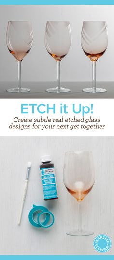 DIY Subtle Etched Glasses for your next get together by Martha Stewart