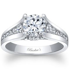 Barkev's Channel Set Diamond Cathedral Engagement Ring With Floral Accents-Style 103037
