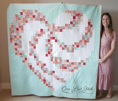 Love You More Quilt by Rachel Zupan. Pattern availble through the LoRayMe Etsy Shop Heart Quilt Pattern, Pattern Blocks, Heart Patterns, Scrappy Quilts, Baby Quilts, Heart Quilts, Bargello Quilts, Memory Quilts, Vogel Quilt