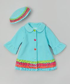 Another great find on #zulily! Turquoise Ruffle Hat & Coat - Infant, Toddler & Girls by Gerson & Gerson #zulilyfinds $25