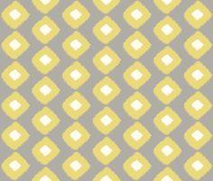 Ikat Trellis Grey Citron fabric by lulabelle on Spoonflower - custom fabric