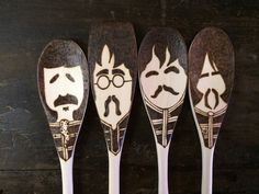 Sgt. Pepper Wooden Spoons, Beatles Gifts, Woodburned Home Decor, Fab Four Christmas Art, Food Lovers, Food Gifts Under 30, Mustache  ♫  Saved by ❂ Indigo Sunshine on Pinterest ✯☽