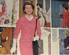 "artornap: ""Pretty Avon Lady in Pink Suit cosmetics make-up Vintage 1961 Print Ad "" Pink Suit, Avon Representative, Print Ads, 3 D, Pink Ladies, Suit Jacket, High Neck Dress, Shirt Dress, Cosmetics"
