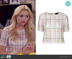Emma's sheer white plaid top on Jessie.  Outfit Details: http://wornontv.net/49602/ #Jessie
