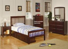 5pc Youth Twin Size Bedroom Set with Under Bed Storage in Rich Cappuccino Finish    #Bedroom-Sets #Furniture #Ikea-Bedroom #Home-Decor