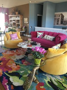 Brilliant Poppies Rug | Anthropologie Indian Living Rooms, Colourful Living Room, Living Room Designs, Living Room Decor, Home And Deco, Home Decor Inspiration, Decor Ideas, Hygge, House Colors