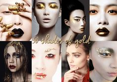 50 Shades of Gold - Different make-up concepts using either liquid gold or gold leaf.
