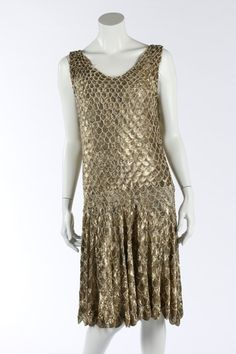 One Item | Kerry Taylor Auctions Lot No 46 : A fine couture gold sequined 'flapper' dress, circa 1927. - See more at: http://kerrytaylorauctions.com/one-item/?id=46&auctionid=401#sthash.U6vu09As.dpuf