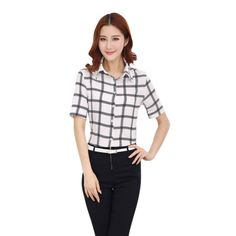 >> Click to Buy << Vogue Women Plaid Button Blouse Top Short Sleeve Women Casual Shirt Blouse Clothes S M L XL XXL #Affiliate