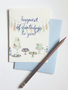 Happiest of Birthdays To You | Watercolor Birthday Card | Sable and Gray Paper Co. | Asheville, NC