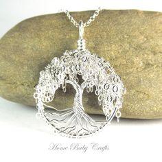 Willow Tree of Life  arbre de Miniature argent massif collier