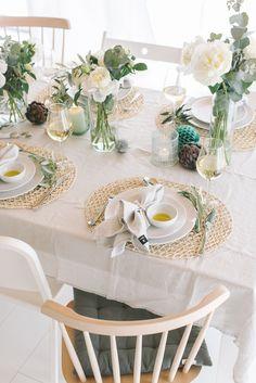Wunderschne vintage Tischdeko in wei und trkis mit