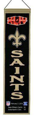"""New Orleans Saints Super Bowl XLIV (44) 32"""" Embroidered Wool Heritage Banner NFL"""
