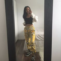 coloured pants are my new fav | yellow floral cargo pants from @prescribedshelter