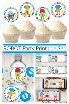 Decorating for a robot birthday party will be super easy with this set of robot party printables. This is a fun party theme, and styling is made super simple with the collection of water bottle labels, cupcake toppers, candy bar wrappers and food labels. Available as an instant download to enable you to set up your party right away.