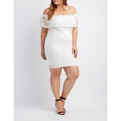 Charlotte Russe Lace Off-The-Shoulder Midi Dress ($37) ❤ liked on Polyvore featuring plus size women's fashion, plus size clothing, plus size dresses, white, plus size white dress, lace-sleeve dress, white floral dresses, white off-shoulder dresses and white bodycon dresses