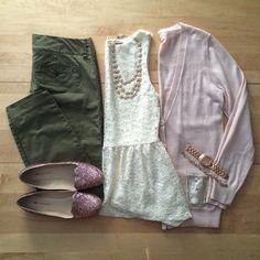 olive pants, cream top, blush cardigan