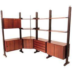 midcentury italian angled rosewood wall unit 1960s