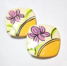 vintage square pink flower clip on earrings O by Edisplace for $5.99