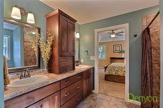 (VC96) Custom Azalea -Master Bathroom- Butterum Granite Countertops. Lakeview Cedar tile flooring