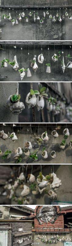 Inspirierende Sea Shell Craft DIY-Ideen - Garten D - Amenagement Jardin Recup Diy Garden, Garden Projects, Garden Art, Garden Design, Diy Projects, Moss Garden, Cacti Garden, Water Garden, Garden Gifts