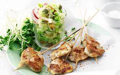 Kylling på spyd & sprød salat