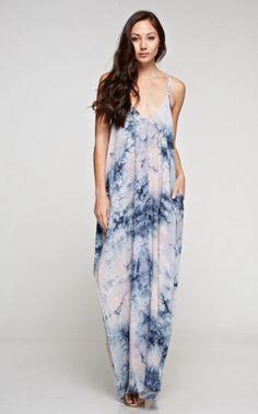 Tie Dye Maxi Dress - Pastel & Navy Mix
