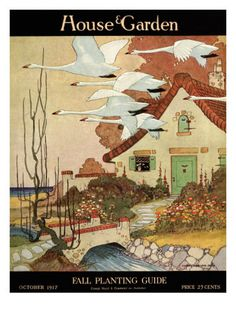 A flock of geese fly south for the winter in this blustery fall illustration by Charles Livingston Bull for October 1917 House & Garden cover.