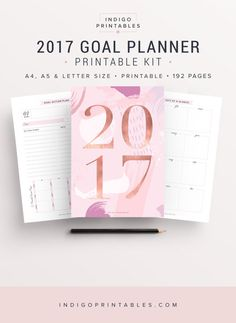 2017 Planner Goal Planner Monthly Planner 2017 by IndigoPrintables