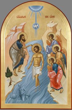 Theophany (Baptism of Jesus Christ) Whispers of an Immortalist: Ministry of… Christian Religions, Christian Symbols, Byzantine Icons, Byzantine Art, Christian Images, Christian Art, Religious Icons, Religious Art, Transfiguration Of Jesus