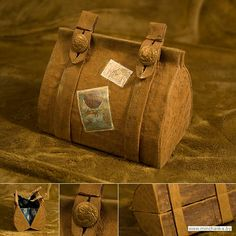 Paper Bag Tutorial ((paper-bag-and-box)) Memories Box, Diy Projects To Try, Crafts To Make, Organizer Box, Paper Toy, Paper Purse, Steampunk Accessories, Paper Folding, Bookbinding