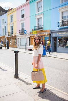 Madewell Top (on sale & last seen here), Cedric Charlier Skirt (on sale, more sizes available here and here/ similar here), Prada Bag, Illesteva Sunglasses, Chanel Flats