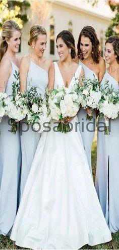 Cheap Pale Blue One Shoulder Simple Bridesmaid Dresses WG789  #Long #mismatched #blush #summer #bridesmaiddress #fall #bridesmaiddresses #bridesmaids #weddingguest #wedding #Modestbridesmaiddress #cheapdress #mermaid #summer #beach Simple Bridesmaid Dresses, Bridesmaids, Cheap Dresses, Prom Dresses, Wedding Dressses, Shoulder Dress, One Shoulder, Dress Backs, Picture Show