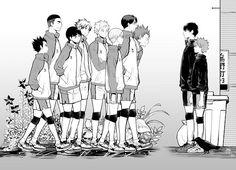 Left to Right | Hayato Yamagata, Reon Ohira, Goshiki Tsutomu, Semi Eita, Taichi Kawanishi, Shirabu Kenjirou, Ushijima Wakatoshi, Tendou Satori, Kageyama Tobio and Hinata Shōyō!
