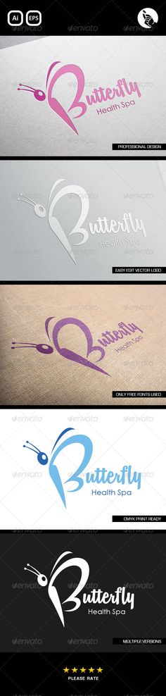 Butterfly Health Spa #GraphicRiver BUTTERFLY SPA LOGO BY FLIPSIDE This logo has been designed for health spa's, beauty salons, hairdressers and other similar business. • Professionally designed unique Butterfly logo. • Fully editable with eps & ai formats. • CMYK print ready files. • This Logo uses free fonts, links included. FONTS: • .dafont /remachine-script.font • Century Gothic Created: 16May13 GraphicsFilesIncluded: VectorEPS #AIIllustrator Layered: No MinimumAdobeCSVersion: CS…