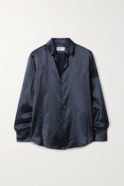 Midnight-blue silk-satin Button fastenings through front silk Specialist clean Mother-of-pearl: Vietnam Made in Italy Saint Laurent Shirt, High Fashion Looks, Satin Shirt, Summer Blouses, Models, Top Designer Brands, Flannel Shirt, Elegant, Midnight Blue